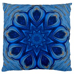 Blue Blossom Mandala Large Flano Cushion Case (two Sides) by designworld65