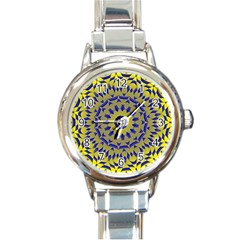 Yellow Blue Gold Mandala Round Italian Charm Watch by designworld65