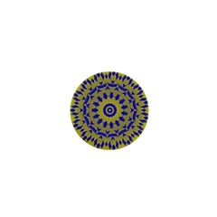 Yellow Blue Gold Mandala 1  Mini Buttons by designworld65