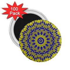 Yellow Blue Gold Mandala 2 25  Magnets (100 Pack)  by designworld65