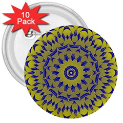 Yellow Blue Gold Mandala 3  Buttons (10 Pack)  by designworld65