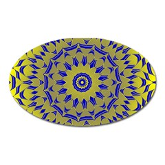 Yellow Blue Gold Mandala Oval Magnet by designworld65