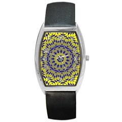 Yellow Blue Gold Mandala Barrel Style Metal Watch by designworld65