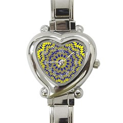 Yellow Blue Gold Mandala Heart Italian Charm Watch by designworld65