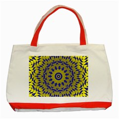 Yellow Blue Gold Mandala Classic Tote Bag (red) by designworld65