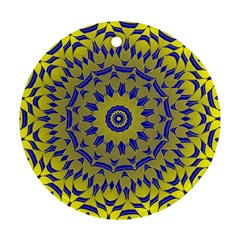 Yellow Blue Gold Mandala Round Ornament (two Sides)  by designworld65