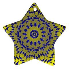 Yellow Blue Gold Mandala Star Ornament (two Sides)  by designworld65