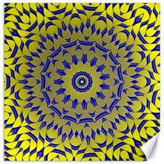 Yellow Blue Gold Mandala Canvas 20  X 20   by designworld65