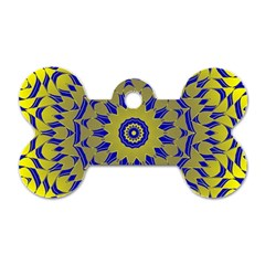 Yellow Blue Gold Mandala Dog Tag Bone (one Side) by designworld65