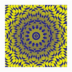 Yellow Blue Gold Mandala Medium Glasses Cloth (2 Side) by designworld65