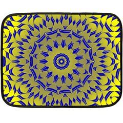 Yellow Blue Gold Mandala Fleece Blanket (mini) by designworld65