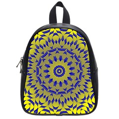 Yellow Blue Gold Mandala School Bags (small)  by designworld65