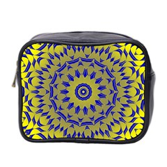 Yellow Blue Gold Mandala Mini Toiletries Bag 2 Side by designworld65
