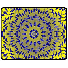 Yellow Blue Gold Mandala Fleece Blanket (medium)  by designworld65