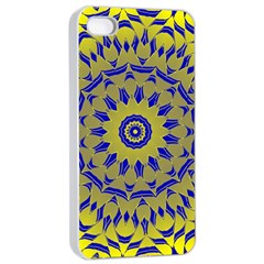 Yellow Blue Gold Mandala Apple Iphone 4/4s Seamless Case (white) by designworld65