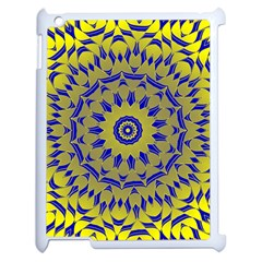 Yellow Blue Gold Mandala Apple Ipad 2 Case (white) by designworld65