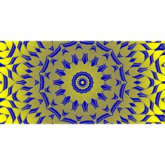 Yellow Blue Gold Mandala You Are Invited 3d Greeting Card (8x4) by designworld65