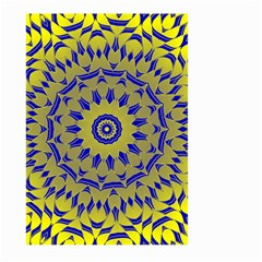 Yellow Blue Gold Mandala Large Garden Flag (two Sides) by designworld65