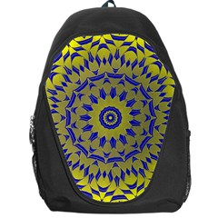 Yellow Blue Gold Mandala Backpack Bag by designworld65