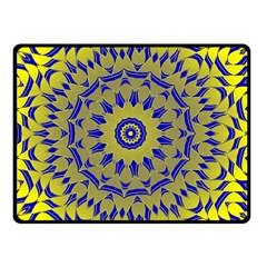 Yellow Blue Gold Mandala Double Sided Fleece Blanket (small)  by designworld65