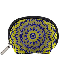 Yellow Blue Gold Mandala Accessory Pouches (small)  by designworld65