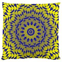 Yellow Blue Gold Mandala Large Flano Cushion Case (one Side) by designworld65