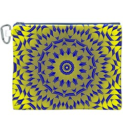 Yellow Blue Gold Mandala Canvas Cosmetic Bag (xxxl) by designworld65