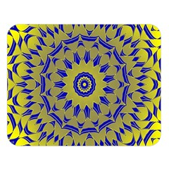 Yellow Blue Gold Mandala Double Sided Flano Blanket (large)  by designworld65