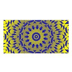 Yellow Blue Gold Mandala Satin Shawl by designworld65