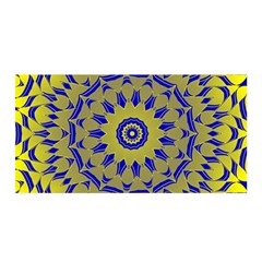 Yellow Blue Gold Mandala Satin Wrap by designworld65