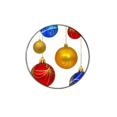 Gold Trim Christmas Ornaments on Strings Hat Clip Ball Marker (4 pack) by DesignMonaco