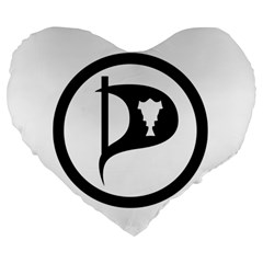 Pirate Party Of Iceland Logo Large 19  Premium Heart Shape Cushions by abbeyz71