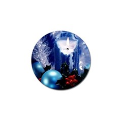 Blue Christmas Ornaments and Candle Golf Ball Marker by DesignMonaco