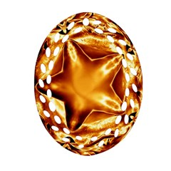 Elegant Gold Copper Shiny Elegant Christmas Star Oval Filigree Ornament (2-Side)  by yoursparklingshop