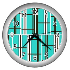 Black And White Stripes                                                                                                          wall Clock (silver) by LalyLauraFLM