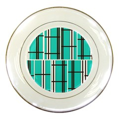 Black And White Stripes                                                                                                          porcelain Plate by LalyLauraFLM