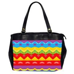 Colorful Waves                                                                                                           Oversize Office Handbag (2 Sides) by LalyLauraFLM