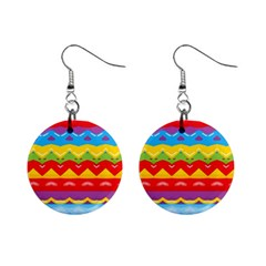 Colorful Waves                                                                                                           1  Button Earrings by LalyLauraFLM