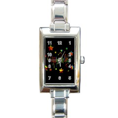 Happy Holidays Rectangle Italian Charm Watch by Valentinaart