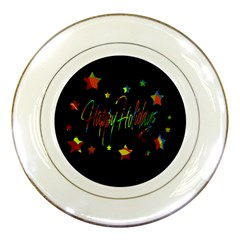 Happy Holidays Porcelain Plates by Valentinaart