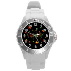 Happy Holidays Round Plastic Sport Watch (l) by Valentinaart