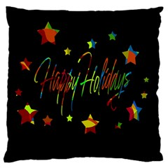 Happy Holidays Large Cushion Case (two Sides) by Valentinaart