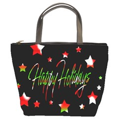 Happy Holidays 2  Bucket Bags by Valentinaart
