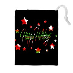 Happy Holidays 2  Drawstring Pouches (extra Large) by Valentinaart