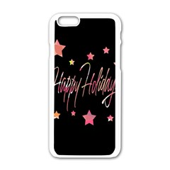 Happy Holidays 3 Apple Iphone 6/6s White Enamel Case by Valentinaart