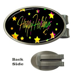 Happy Holidays 4 Money Clips (oval)  by Valentinaart