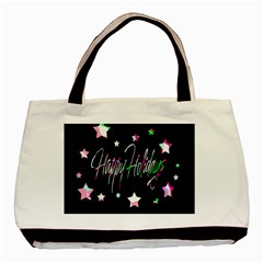 Happy Holidays 5 Basic Tote Bag (two Sides) by Valentinaart