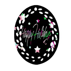 Happy Holidays 5 Ornament (oval Filigree)  by Valentinaart