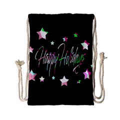 Happy Holidays 5 Drawstring Bag (small) by Valentinaart