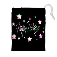 Happy Holidays 5 Drawstring Pouches (extra Large) by Valentinaart